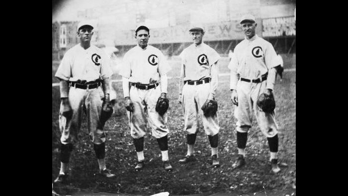 The Four Horsemen of the Cubs infield during its great victory run from 1906 through 1910 included former bicyclist and minstrel entertainer Harry Steinfeldt, left, at third base. (National Baseball Hall of Fame and Museum, Cooperstown, NY)
