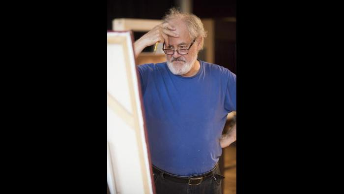 """Rehearsing for """"The Rembrandt"""" (Michael Brosilow / Steppenwolf Theatre)"""