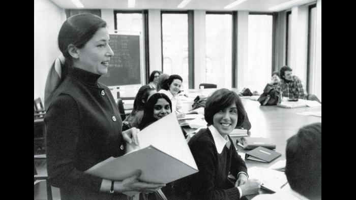 Ruth Bader Ginsburg teaching at Columbia Law School, 1972. Courtesy of Columbia Law School.