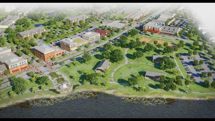 Detailed rendering of Lakemoor town center with pedestrian crosswalk, new village hall, mixed-use buildings, residential, and Morrison Park expansion near Route 120 improvements (sidewalks, trees, median) for walkability.
