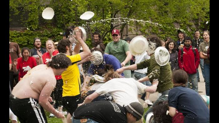 """In 2008, the list of items for the Scavenger Hunt included this entry: """"PIE FIGHT!! Bring ten cream pies and prepare to prove your superiority old-timey comedy style."""" (Courtesy Leila Sales)"""