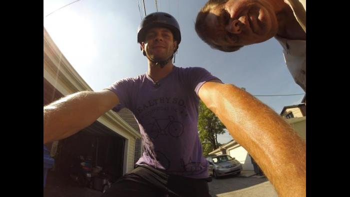 Setting up the GoPro camera for WTTW's shoot. (Roy Alan / WTTW)