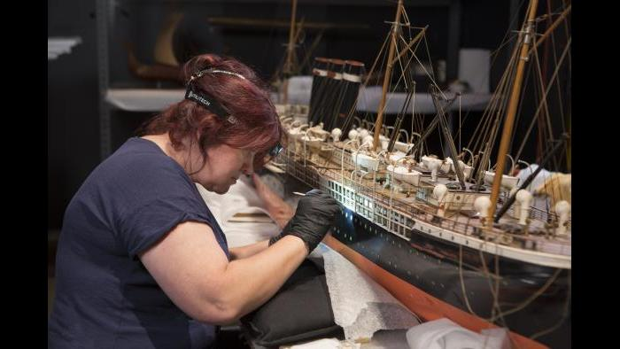 The models were moved into a private conservation space, where the historic ships were restored to their former glory. (J.B. Spector / Museum of Science and Industry)