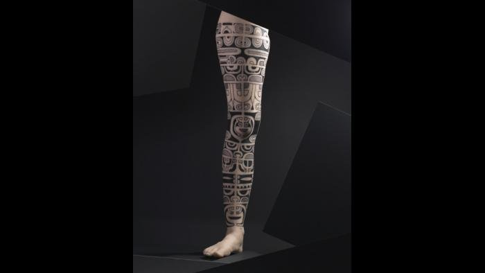 Silicone female leg with tattoo design by Chime. (Courtesy of The Field Museum)