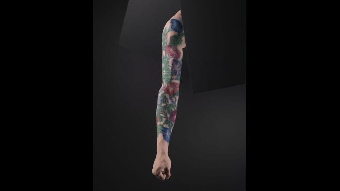 Silicone male arm with tattoo design by Horiyoshi III, Japan. (Courtesy of The Field Museum)