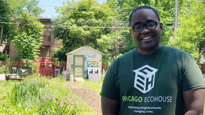 Eco House founder Quilen Blackwell. (Patty Wetli / WTTW News)