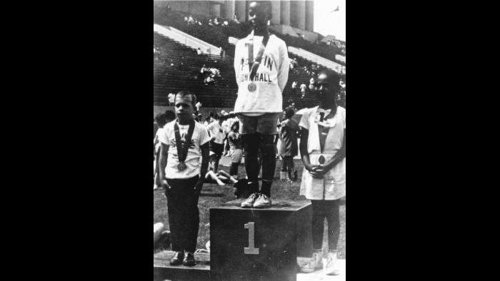 Athletes receive their medals at the 1968 Games. (Courtesy of Special Olympics Chicago)