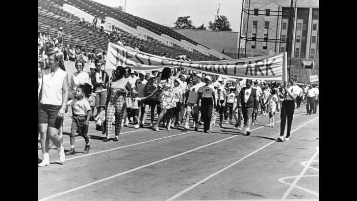 The first Special Olympics began with an opening ceremony and parade. (Courtesy of Special Olympics Chicago)