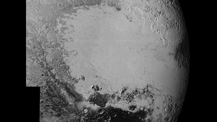 The icy plain of Pluto's Sputnik Planum (NASA/Johns Hopkins University Applied Physics Laboratory/Southwest Research Institute)