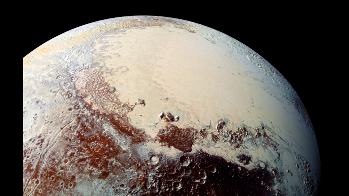 The icy plain of Pluto's Sputnik Planum (NASA/Johns Hopkins University Applied Physics Laboratory/Southwest Research Institute)