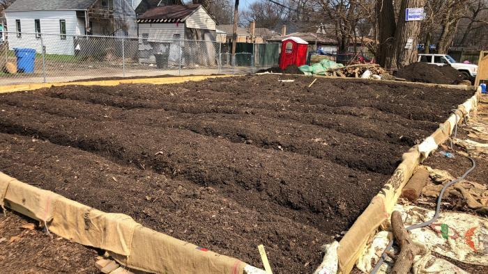 New beds at Star Farm, awaiting planting. (Patty Wetli / WTTW News)
