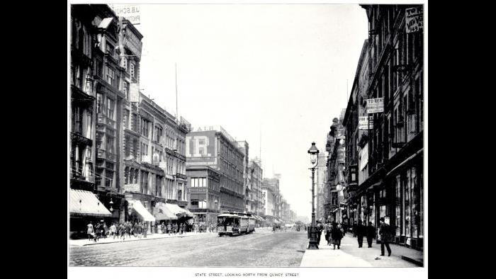 State Street looking north from Quincy Street in Chicago, 1893.