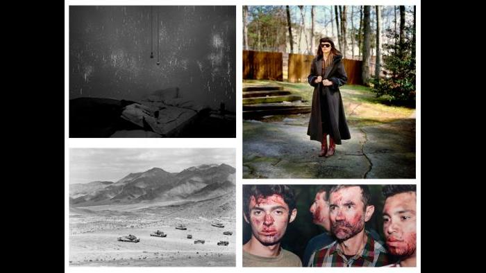 """Clockwise: Guillaume Simoneau, Wearing Veteran's Day present, Kennesaw, Georgia, form the """"Love and War"""" series, 2008; Alison Ruttan, Moments Later the Rage Began to Settle, from """"The Four Year War at Gombe"""" series, 2009; An-My Lê, 29 Palms: Mechanized Assault, 2003-2004; Angela Strassheim, Evidence No. 2, 2009."""
