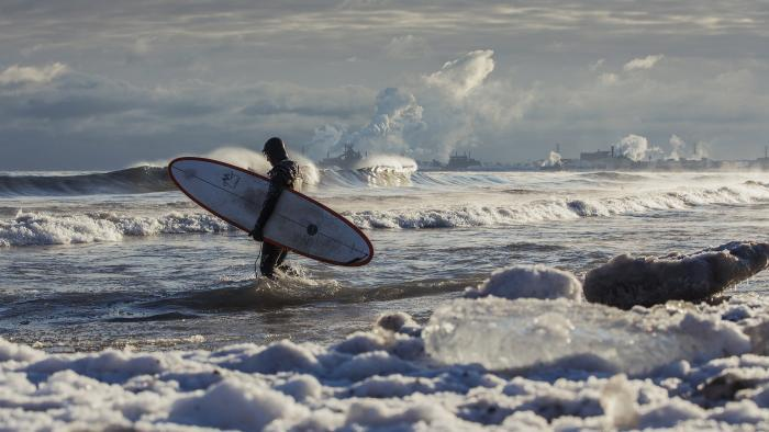 A Lake Michigan surfer. (Credit: Mike Killion)