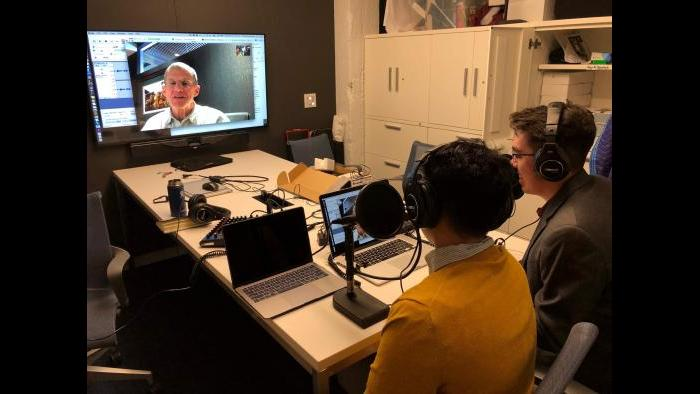 """Thomas Krasnican and Nick Paraiso interview retired Gen. Stanley McChrystal for their podcast """"Thank You for Your Service."""" (Courtesy Thomas Krasnican and Nick Paraiso)"""