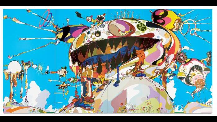 (Takashi Murakami, Tan Tan Bo Puking - a.k.a. Gero Tan, 2002. Acrylic on canvas mounted on board, 141 ¾ x 283 ½ x 2 ½ in. (360 x 720 x 6.7 cm). Courtesy Galerie Perrotin. ©2002 Takashi Murakami/Kaikai Kiki Co., Ltd.)