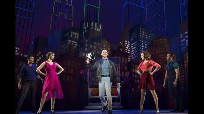 "Santino Fontana, center, in ""Tootsie."" Also pictured, from left: Drew King, Leslie Donna Flesner, Sissy Bell and John Arthur Greene. (Photo by Julieta Cervantes)"