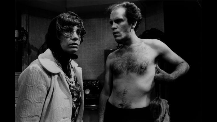 "John Malkovich, right, in Steppenwolf's production of ""True West."" (Courtesy Steppenwolf Theatre)"