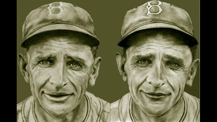 """Two Caseys: """"Casey Stengel was very famous. He started in baseball at the early part of the century. He started off as a player but most noteworthy as a manager. His last managerial job was for the New York Mets. I sold one of these so I made another one. In this photo, they are side by side. You can't reproduce the same piece of art so there are subtle differences."""""""