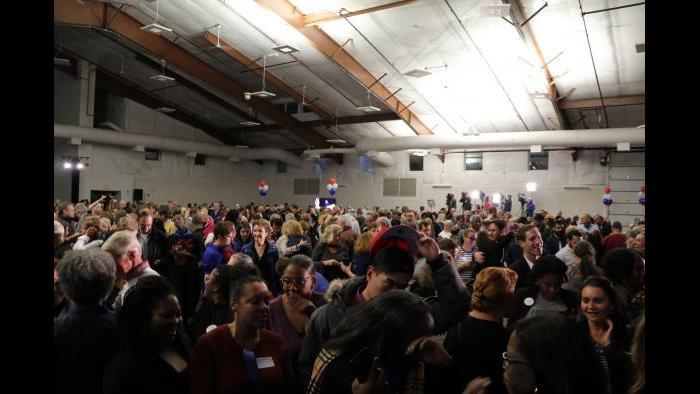 Supporters at Lauren Underwood's election night headquarters. (Evan Garcia / Chicago Tonight)
