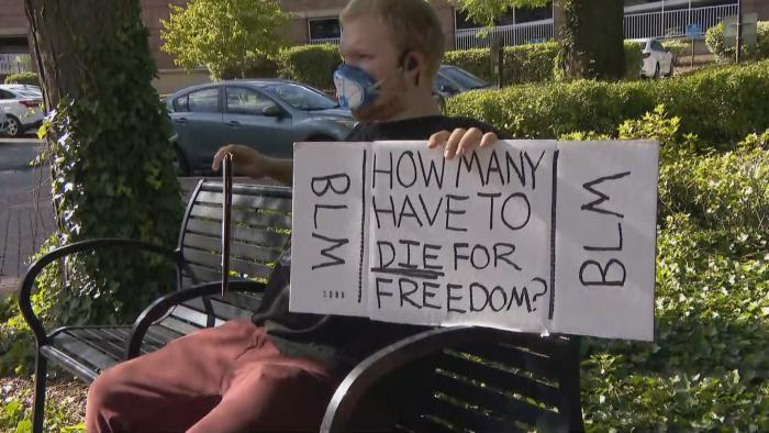 A protest outside of Elgin City Hall on Wednesday, June 24, 2020. (WTTW News)
