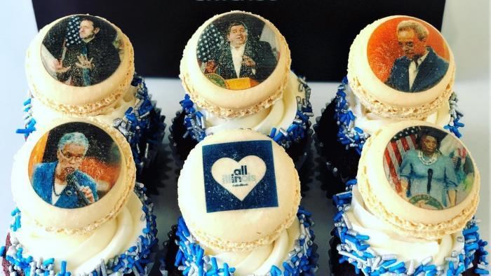 Press conference cupcakes were another treat inspired by current events. (Courtesy of Vanille Patisserie)