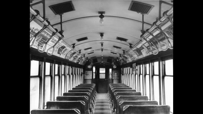 Interior view of a 4000 series railcar from the CTA's Heritage fleet. (Courtesy CTA)