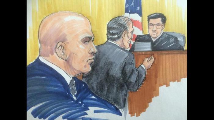 Courtroom sketch of Thomas Vranas, left, his attorney Michael Monico and U.S. District Judge Edmond Chang. (Thomas Gianni)