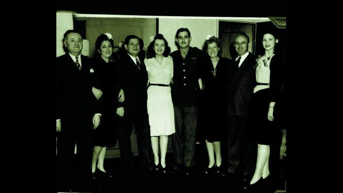 Wedding party with Norman Lear in uniform (Courtesy of Norman Lear)