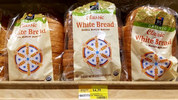 365 brand organic white bread: $4.39 in Edgewater