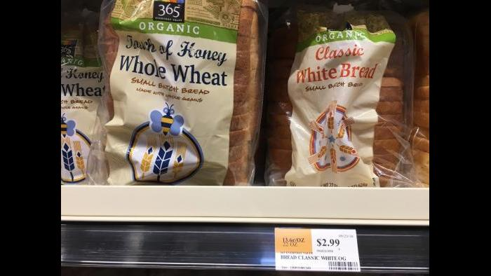 365 brand organic white bread: $2.99 in Englewood