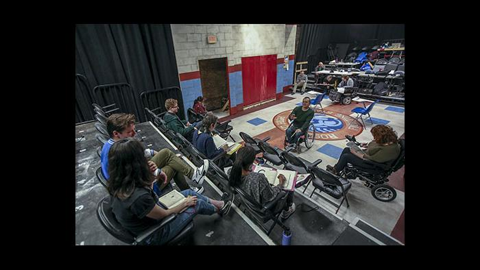 """Director Brian Balcom gives notes to the cast during a rehearsal of """"Teenage Dick."""" (Photo credit: Charles Osgood)"""