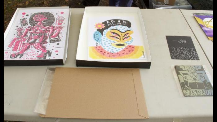 Zine artwork at Zinemercado on Sunday, Oct. 4, 2020. (Ariel Parrella-Aureli / WTTW News)