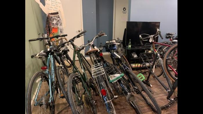 Bikes await their owners at the 35th Ward office of Ald. Carlos Ramirez-Rosa on Sunday, Aug. 23, 2020. (Grace Del Vecchio / WTTW News)