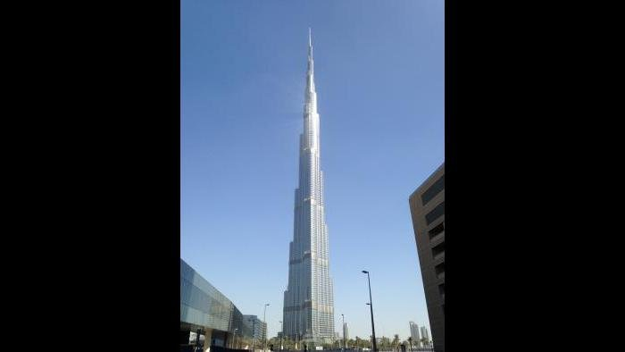 The real Burj Khalifa in Dubai, United Arab Emirates, is the tallest building in the world, reaching 154 floors, or 2,717 feet.