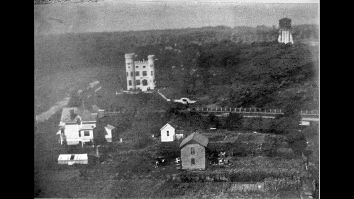 This photo was likely taken by a hydrogen balloon in 1889. The Barnard house and farm are at the bottom of the ridge. (Courtesy of the archives of Beverly Unitarian Church)