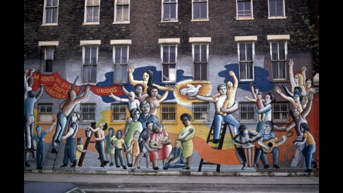 "John Pitman Weber and Oscar Martínez, ""People of Lakeview Together,"" 1972 (now destroyed). (Photograph: Georg Stahl Mural Collection, University of Chicago Library)"