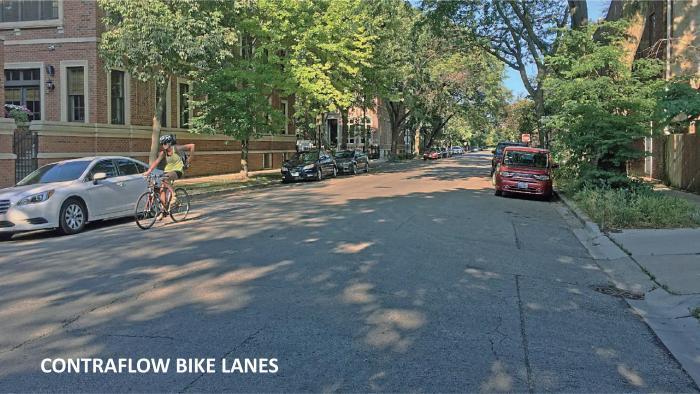 A Chicago Department of Transportation rendering shows what a new bike lane configuration on Dickens Avenue would look like.