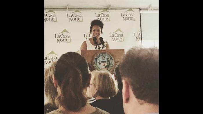 Cynthia Smith speaks about her personal experience with homelessness at an event benefiting La Casa Norte, a homeless agency that housed Smith for two months. (Courtesy of Cynthia Smith)
