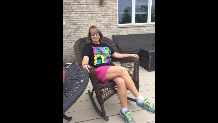 Nancy Thometz watches the eclipse in Orland Park. (Submitted by: Pat Thometz)