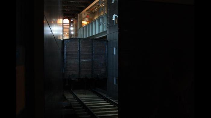 World Ward II era boxcar train, the centerpiece of the Illinois Holocaust Museum (Chloe Riley)