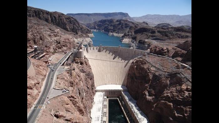Finished in 1933, the Hoover Dam is 725 feet tall and 1,244 feet wide.