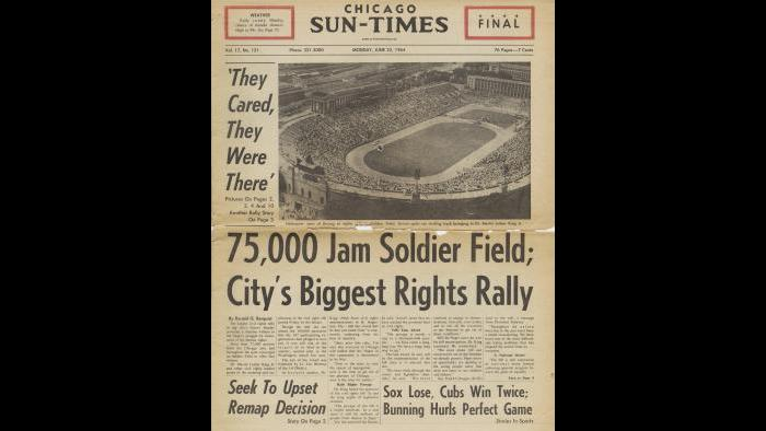 Chicago Sun-Times article, 1964 (Courtesy Chicago History Museum)