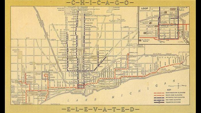 Map shows Chicago elevated lines from 1924-1947 when one of the trains in the Heritage fleet would have been running. (Courtesy CTA)