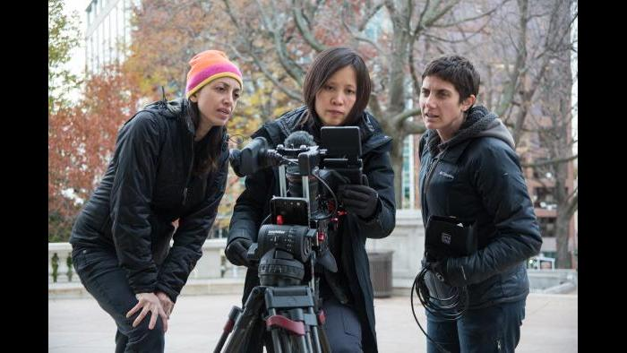 "Directors Laura Ricciardi, left, and Moira Demos, right, with Iris Ng, center, on the set of ""Making A Murderer."" (Netflix)"