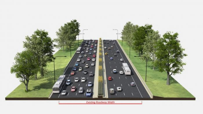 A rendering shows a bus lane on the right shoulder of Lake Shore Drive.