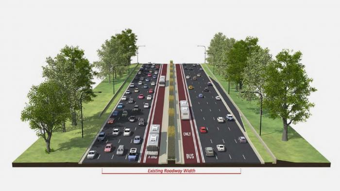 A rendering shows a dedicated bus lane on the left side of Lake Shore Drive.