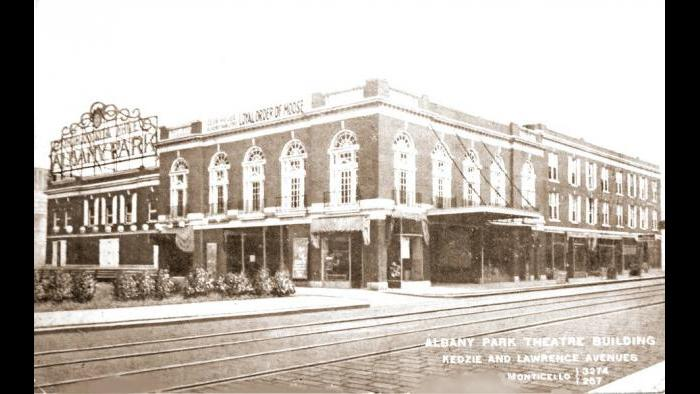 Postcard: Albany Park Theatre Building at Kedzie and Lawrence, 1910s