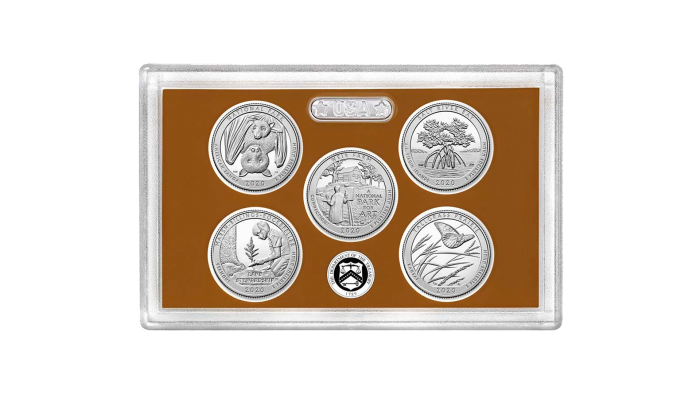 "Beginning Tuesday at noon, coin collectors were able to purchase this ""proof set"" which includes all five national park quarters to be released in 2020. (Credit: United States Mint)"