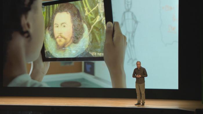 The updated Apple iPad includes augmented reality features, allowing students to closely examine historic pieces of art through their tablets.